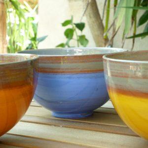 bols en faïence colorée