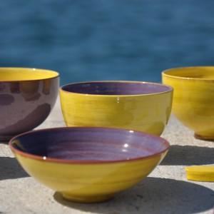 bols et coupelles citron violet