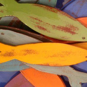poissons en faïence coloré