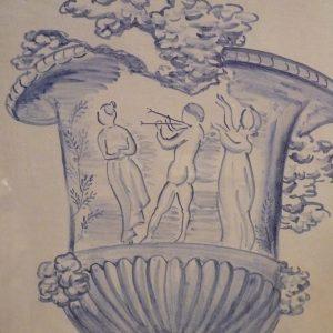 détail fresque vase baroque carreaux de faïence