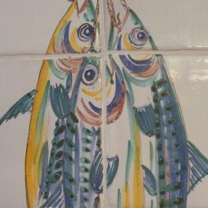 fresque dite aux maquereaux sur carreaux de faïence tiles